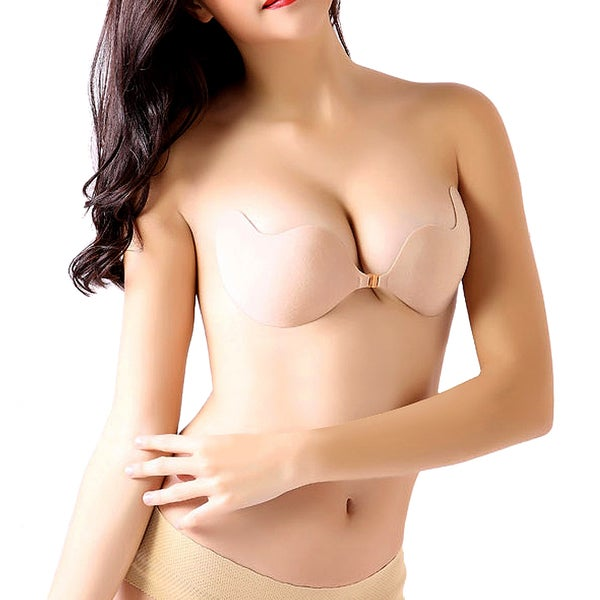 Gearonic Nude Women Backless Self Sexy Stick Push Up Invisible Bras 16107650