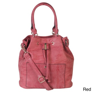 Rimen & Co. PU Leather Vintage Style Double Handle Drawstring Closure Tote with Adjustable Shoulder Strap Handbag