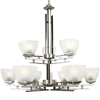 Yosemite Home Decor Frosted Glass Shade Nickel Half Dome Collection 9-light Chandelier
