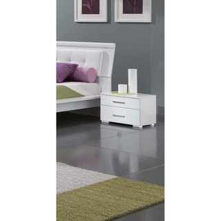 Luca Home Contemporary Nightstand White