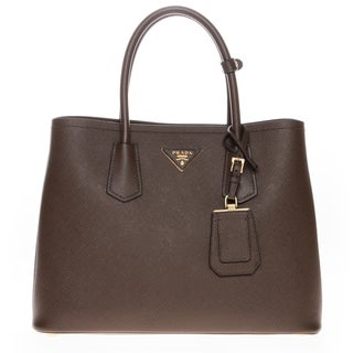 Prada Saffiano Cuir Brown Medium Double Bag