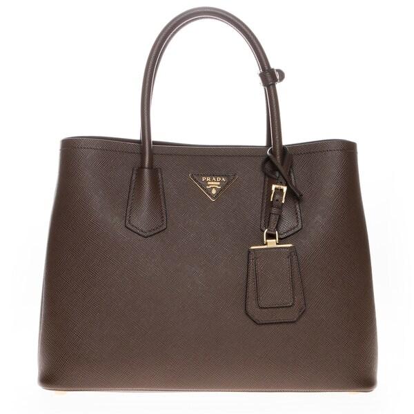 Prada Saffiano Cuir Brown Medium Double Bag