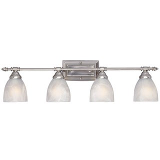 Yosemite Home Decor Colored Glass Shade Burnished, Nickel 4-light Vanity