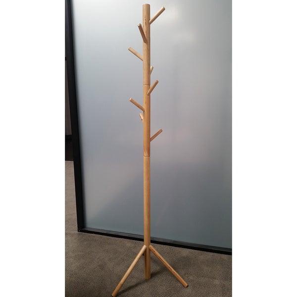Natural Solid Wood Coat Rack