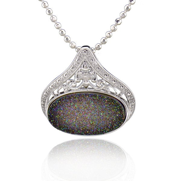 Sterling Silver Oval Druzy Necklace with 18-inch Bead Chain 16108159