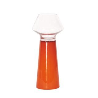 Howard Elliott Small Clear Hand-blown Mushroom Shaped Glass Top with Opaque Orange Base