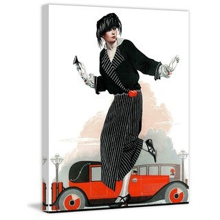 "Marmont Hill - ""Flapper and Roadster"" by Coles Phillips Painting Print on Canvas"