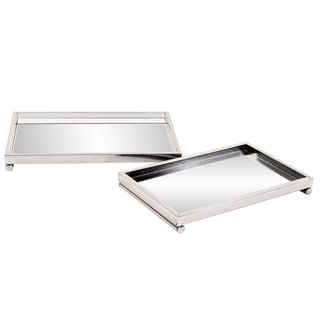 Allan Andrews Chrome Tray Set with Mirrored Surface