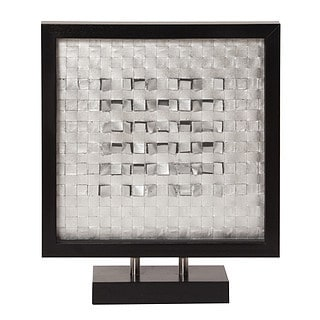 Allan Andrews Industrial Silver Fabric Art Set in Black Wood Frame and Base