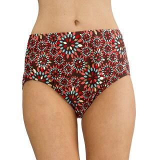 Mazu Swim Metal Leaf Brown Mid Waist Swimsuit Brief