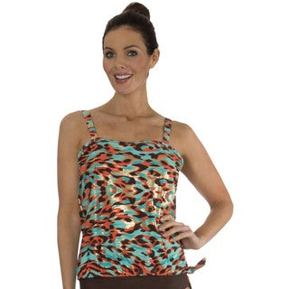 Mazu Swim Farrah Leopard Brown Blouson Tankini Top