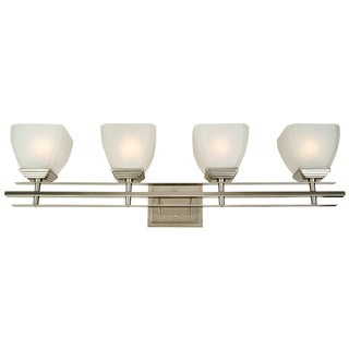 Yosemite Home Decor Frosted Glass Shade Nickel 4-light Vanity
