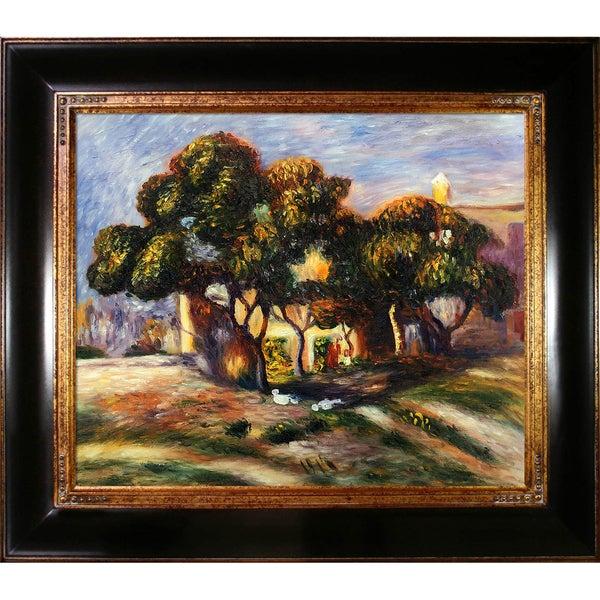 Pierre-Auguste Renoir 'Medlar Trees, Cagnes, 1908' Hand Painted Framed Canvas Art