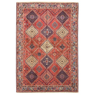 EORC X25929 Rust Hand-knotted Wool Yalameh Rug (6'7 x 9'6)