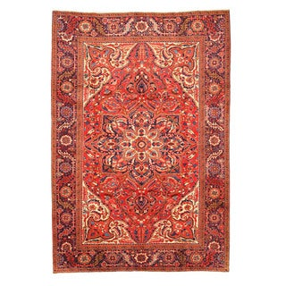 EORC X26037 Red Hand-knotted Wool Heriz Rug (7'11 x 11'10)