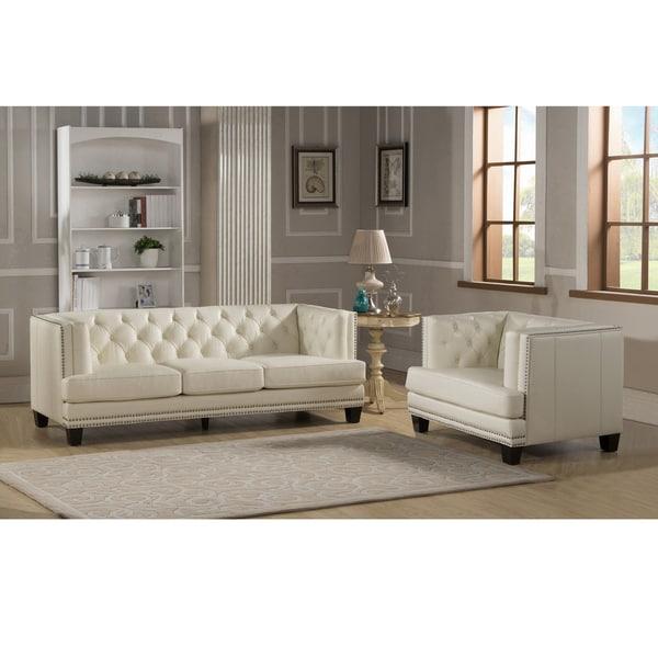 Elle Tufted Cream Top Grain Italian Leather Sofa and Chair