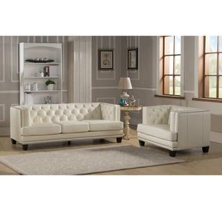 Elle Tufted Premiun Cream Top Grain Leather Sofa and Chair