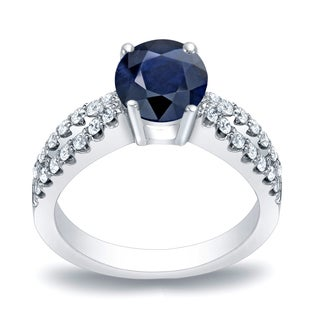 Auriya 14k Gold 3/5ct Blue Sapphire and 2/5ct TDW Round Diamonds Engagement Ring (H-I, SI1-SI2)