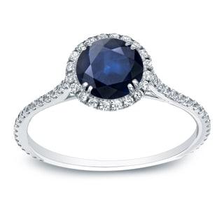 Auriya 14k 3/4ct Blue Sapphire and 3/4ct TDW Round Diamonds Engagement (H-I, SI1-SI2)