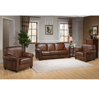 Oasis Premium Brown Top Grain Italian Leather Sofa and Two Chairs