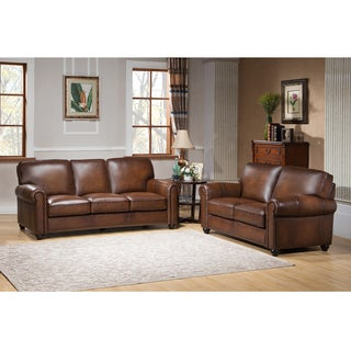 Oasis Premium Brown Top Grain Leather Sofa and Loveseat