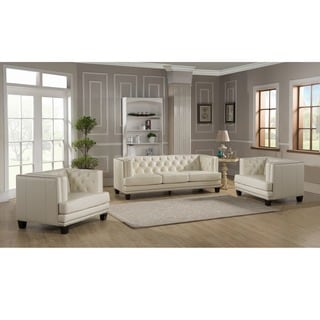 Elle Tufted Premiun Cream Top Grain Leather Sofa and Two Chairs