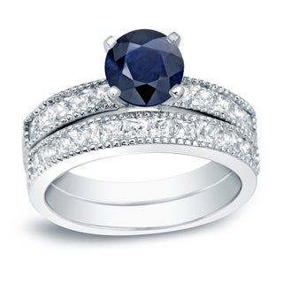 Auriya 14k Gold 4/5ct Blue Sapphire and 1 1/5ct TDW Round Diamond Bridal Ring Set (H-I, SI1-SI2)