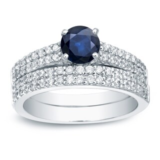 Auriya 14k Gold 3/4ct Blue Sapphire and 3/4ct TDW Round Diamonds Bridal Ring Set (H-I, SI1-SI2)