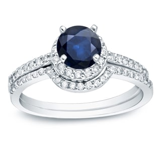 Auriya 14k Gold 3/5ct Blue Sapphire and 2/5ct TDW Round Diamonds Bridal Ring Set (H-I, SI1-SI2)