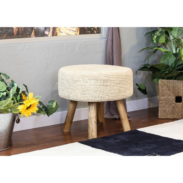 Somette Natural Raffia Stool