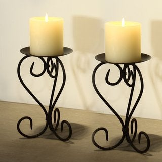 Adeco Antique Iron Roman-style Candle Holder (Set of 2)