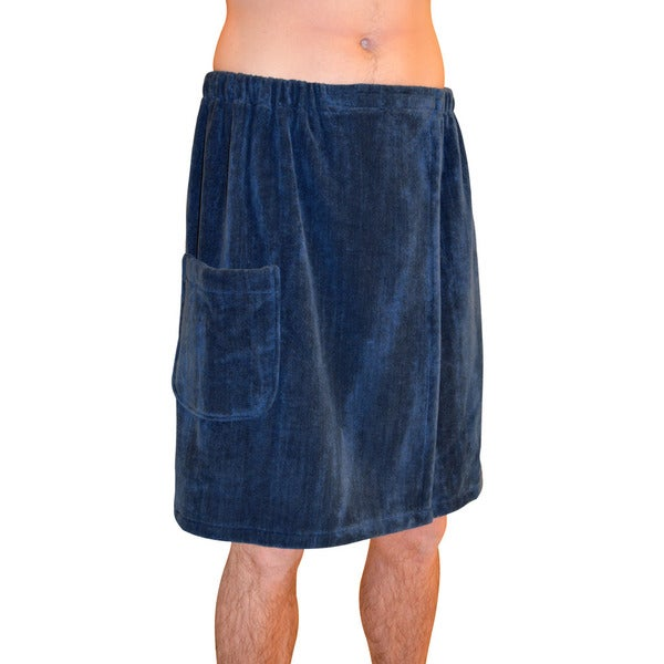 Men's Spa and Bath Navy Blue Terry Cloth Towel Wrap