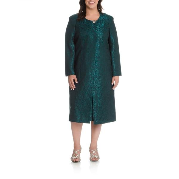 Mia Suits Women's Plus Size Floral Lace 2-piece Dress Suit