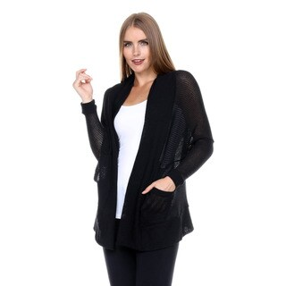 Stanzino Women's Long Sleeve Black Knit Cardigan