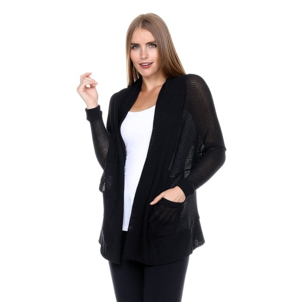 Stanzino Women's Long Sleeve Black Knit Cardigan