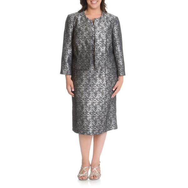 Mia Suits Women's Plus Size Swirl Pattern 2-piece Dress Suit
