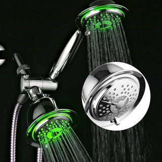 PowerSpa All-chrome 3-way LED Twin 7-color Shower System with Air Turbo Technology