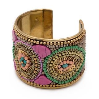 Handmade Pink Embroidered Brass Cuff with Velvet and Beads (India)