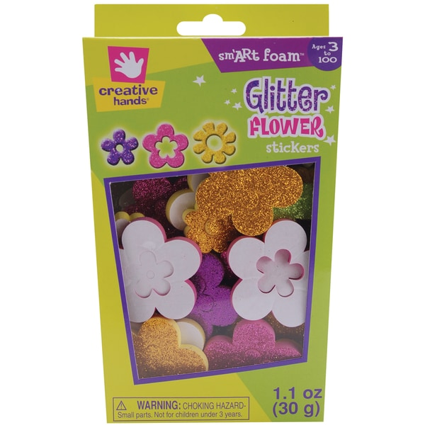 Foam Glitter Stickers 1.1ozFlowers
