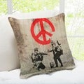 'Soldiers Painting Peace Sign' London Banksy Throw Pillow