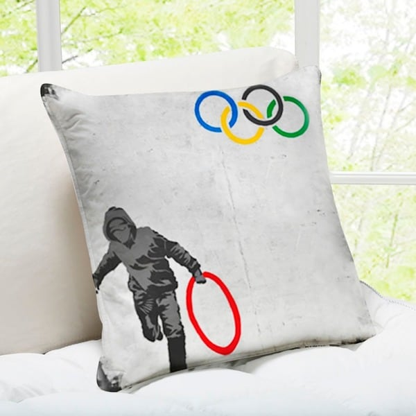'Stolen Olympic Ring' London Banksy Throw Pillow