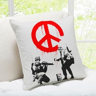 'Soldiers Painting Peace Sign' London Gray Banksy Throw Pillow