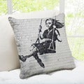 'Swing Girl' Los Angeles Closeup Banksy Throw Pillow