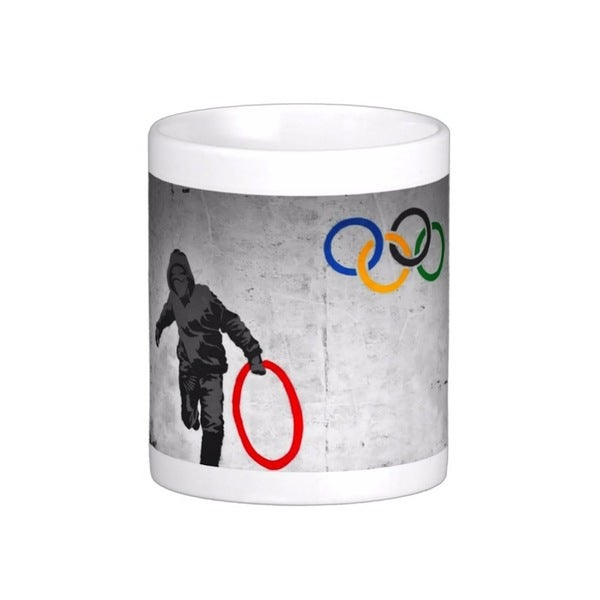 'Stolen Olympic Ring' Banksy Art Coffee Mug