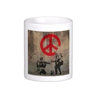 'Soldiers Painting Peace Sign' London Banksy Art Coffee Mug