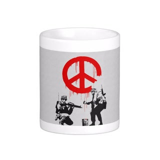 'Soldiers Painting Peace Sign' Gray London Banksy Art Coffee Mug
