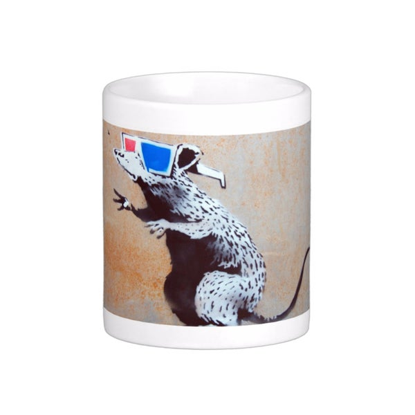 'Rat 3D Glasses' Utah Banksy Art Coffee Mug