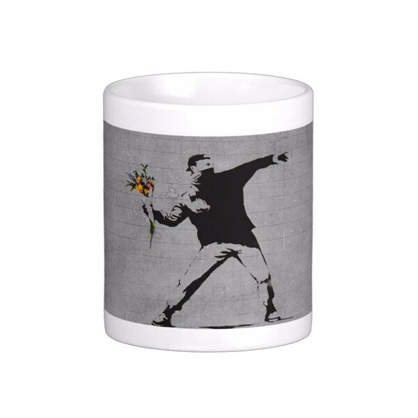 'Rage Flower Thrower' Jerusalem Banksy Art Coffee Mug