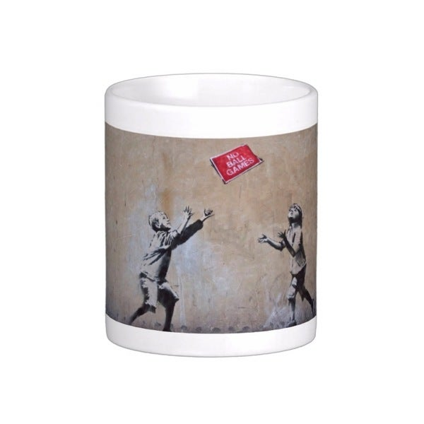 'No Ball Games' London Banksy Art Coffee Mug