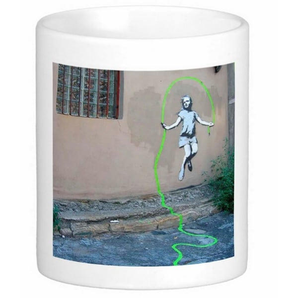 'Girl Skipping Rope' Brooklyn Banksy Art Coffee Mug
